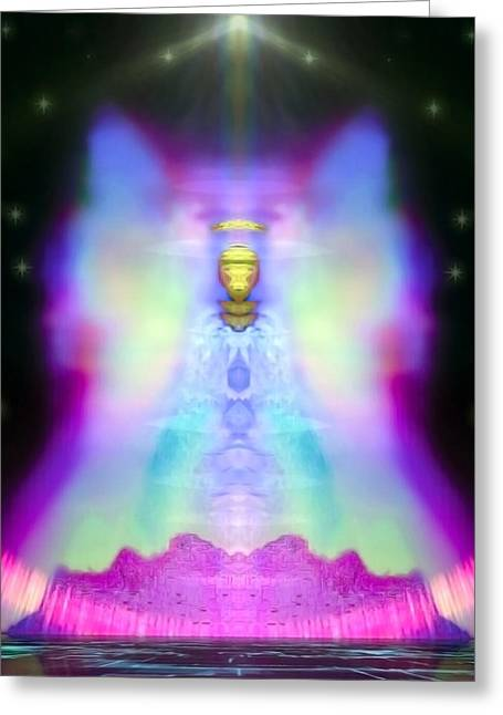 Angel Blues Greeting Cards - Rahatiel Greeting Card by Raymel Garcia