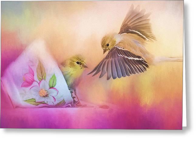 Raiding The Teacup - Songbird Art Greeting Card by Jai Johnson