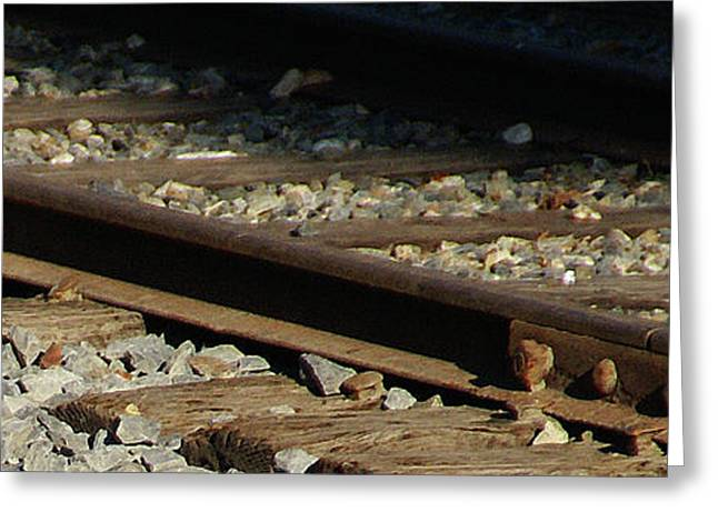 Railroad Tie Greeting Cards - Rail Greeting Card by Linda Knorr Shafer