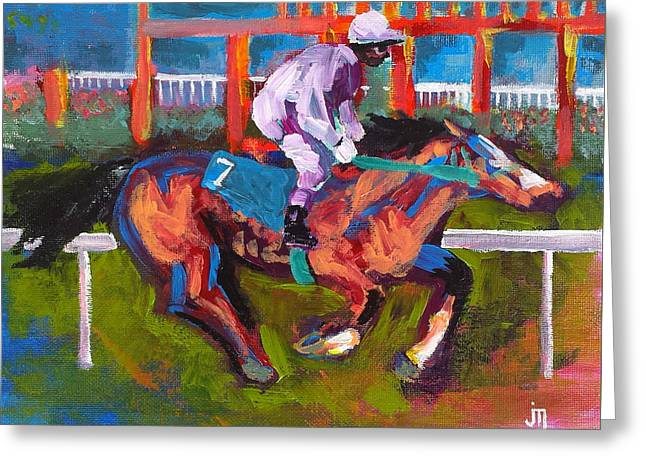 Race Horse Greeting Cards - Rail Rider Greeting Card by J Travis Duncan