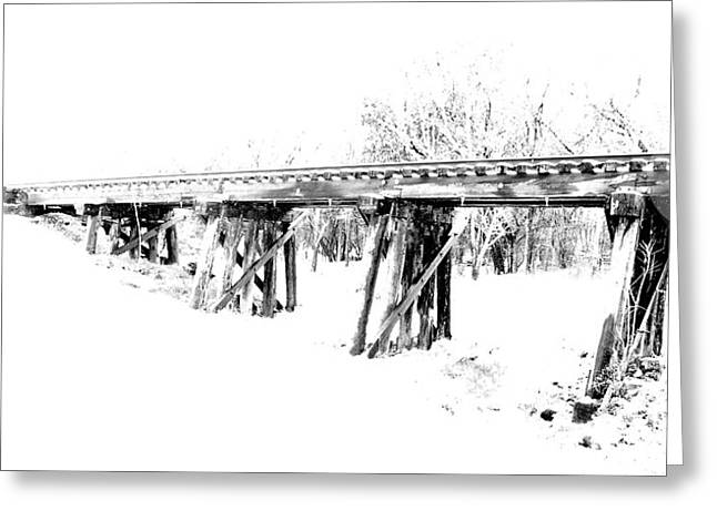 James R Granberry Greeting Cards - Rail Road Bridge In Winter 1 Greeting Card by James Granberry