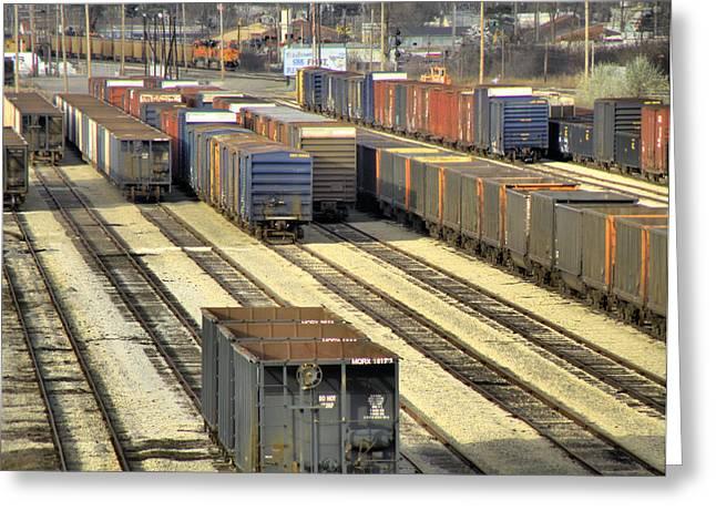 Train Yard Greeting Cards - Rail Yard 2 Greeting Card by Scott Hovind