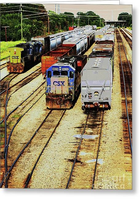 Rail Yard Greeting Card by Karol Livote