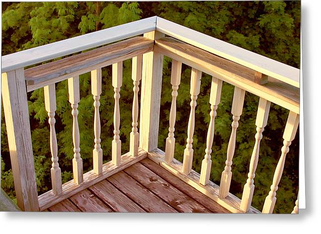 Larry Darnell Greeting Cards - Railing Sunset Bar Harbor Greeting Card by Larry Darnell