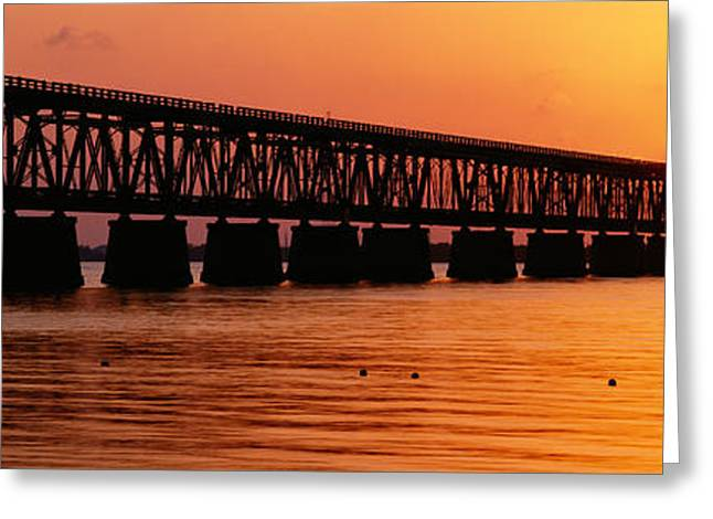 Railroad Bridge At Sunset, Florida Greeting Card by Panoramic Images