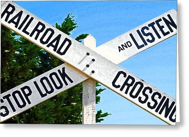 20th Greeting Cards - Railroad Crossing Greeting Card by Jean Hall
