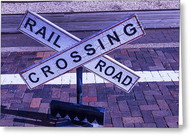 Railroad Crossing Greeting Cards - Railroad Crossing Sign  Greeting Card by Garry Gay