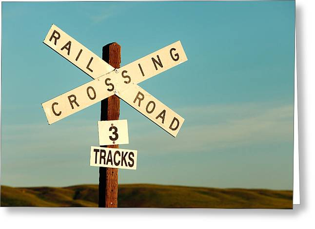 Railroad Crossing Greeting Card by Todd Klassy