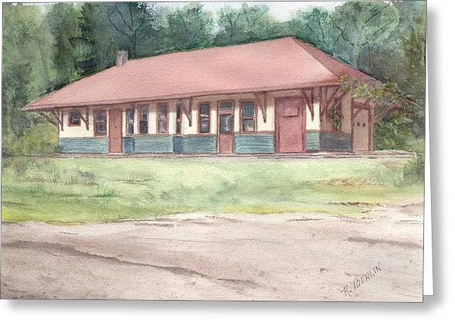 East Hampton Paintings Greeting Cards - Railroad Depot Greeting Card by Katherine  Berlin