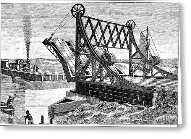 Mechanism Photographs Greeting Cards - Railroad Drawbridge, 19th Century Greeting Card by Spl