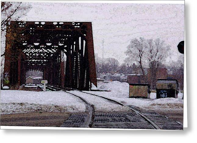 Entryway Drawings Greeting Cards - Railroad Tressel On Front Street Crossing The Grand River Greeting Card by Rosemarie E Seppala