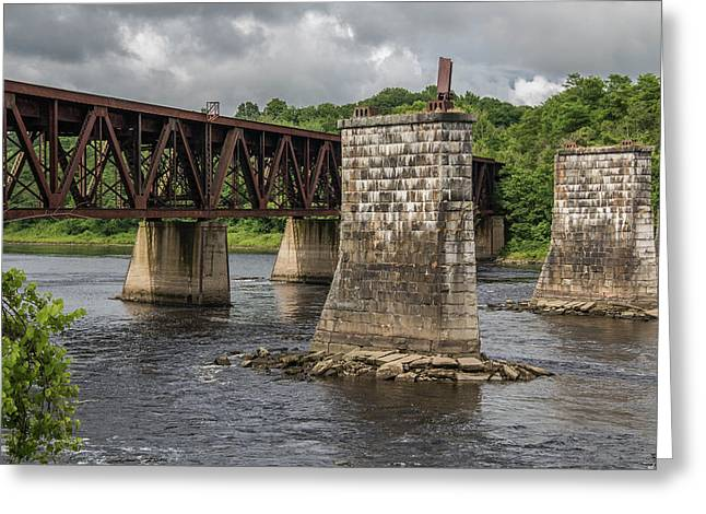 Railroad Trestle Greeting Card by Laurie Breton