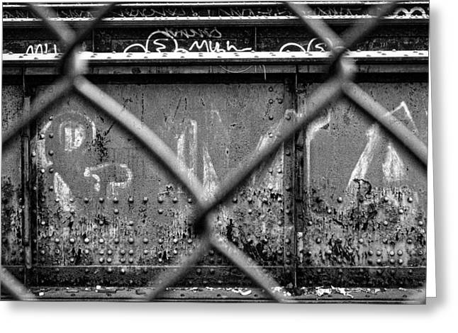 Town Square Greeting Cards - Railroad Trestle Rust And Graffiti #2 Greeting Card by Stuart Litoff