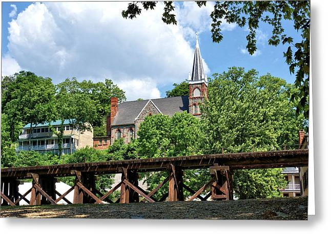 Railroad Trestle Through Harpers Ferry Greeting Card by John Trommer