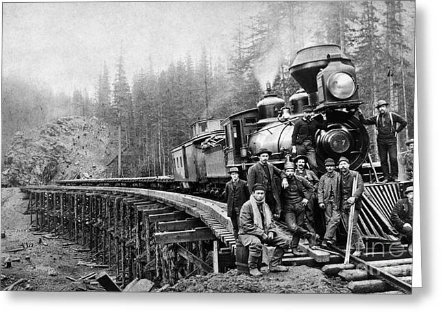 1880s Greeting Cards - RAILROAD WORKERS, c1880s Greeting Card by Granger