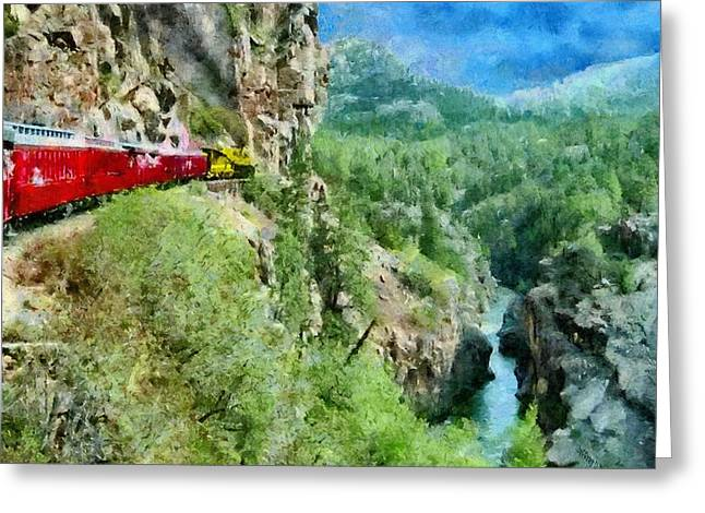 Gauge Greeting Cards - Rails Above the River Greeting Card by Jeff Kolker