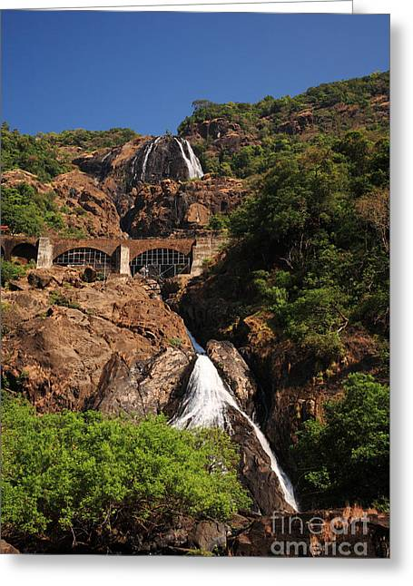 Railway Bridge Over Dudhsagar Falls Greeting Card by Deborah Benbrook