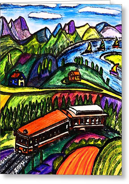 Railway Express Greeting Card by Monica Engeler