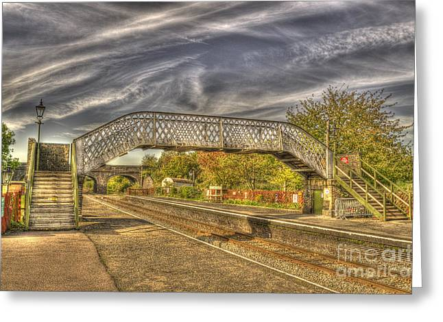 Crossover Greeting Cards - Railway Pedestrian Bridge Greeting Card by Chris Thaxter