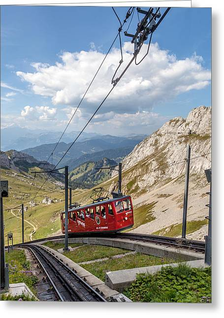 Swiss Photographs Greeting Cards - Railway to the sky Greeting Card by W Chris Fooshee