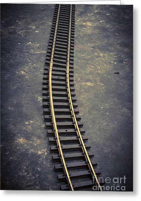 Directly Above Greeting Cards - Railway toy tracks line Greeting Card by Bernard Jaubert