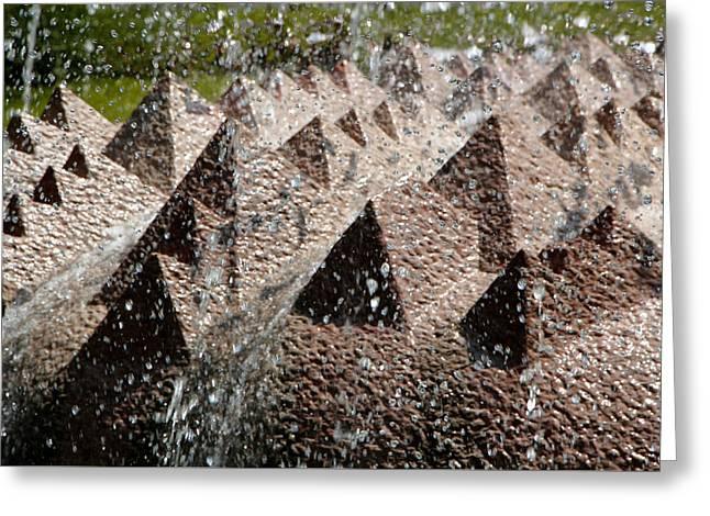 Abstract Rain Greeting Cards - Rain among the Pyramids Greeting Card by John Wallace