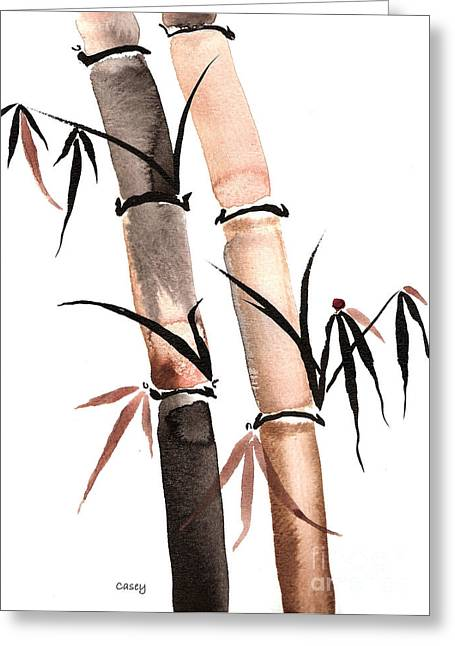 Sumi Greeting Cards - Rain Bamboo Greeting Card by Casey Shannon