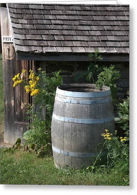 Rain Barrel Greeting Card by Valerie Kirkwood