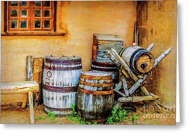 Rain Barrels Greeting Card by Jon Burch Photography