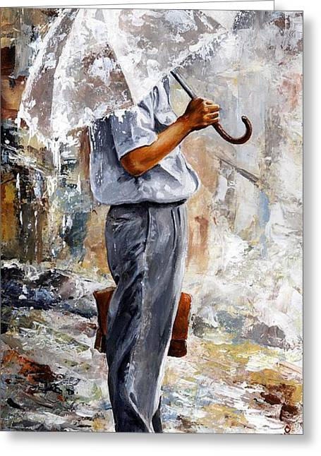 City Rain Greeting Cards - Rain day - The office man Greeting Card by Emerico Imre Toth