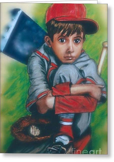 Baseball Glove Paintings Greeting Cards - Rain Delay Greeting Card by Catherine Hess