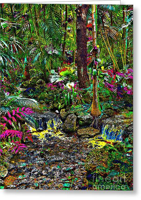 Water Garden Tapestries - Textiles Greeting Cards - Rain Forest Greeting Card by Edna Weber