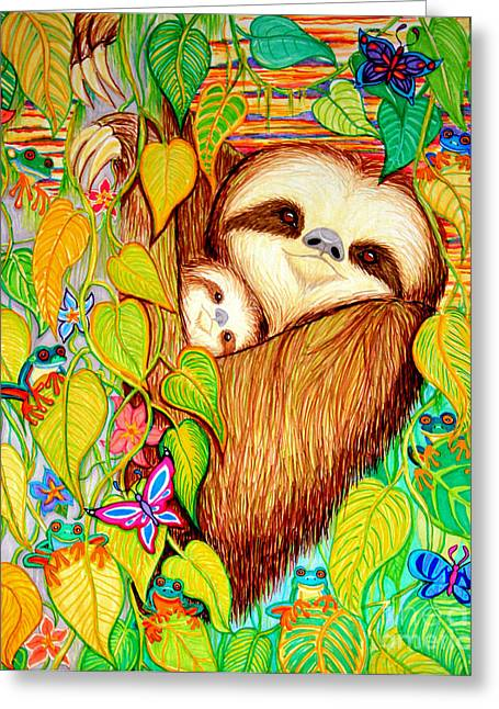 Sloth Greeting Cards - Rain Forest Survival Mother and Baby Three Toed Sloth Greeting Card by Nick Gustafson