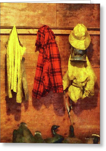 Raining Greeting Cards - Rain Gear and Red Plaid Jacket Greeting Card by Susan Savad