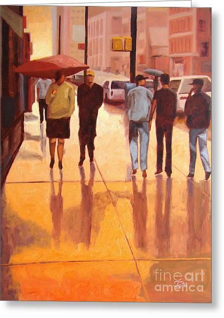 Raining Paintings Greeting Cards - Rain in Manhattan number eighteen Greeting Card by Tate Hamilton