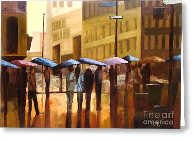 People Paintings Greeting Cards - Rain in Manhattan number seventeen Greeting Card by Tate Hamilton