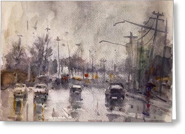 Rain In Niagara Falls Blvd Greeting Card by Ylli Haruni