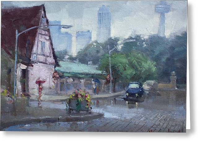 Rainy Street Paintings Greeting Cards - Rain in Old Falls Street Greeting Card by Ylli Haruni