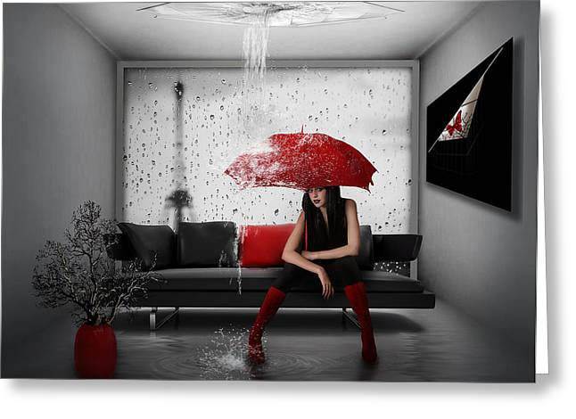 """photo Manipulation"" Greeting Cards - Rain In Paris Greeting Card by Nataliorion"