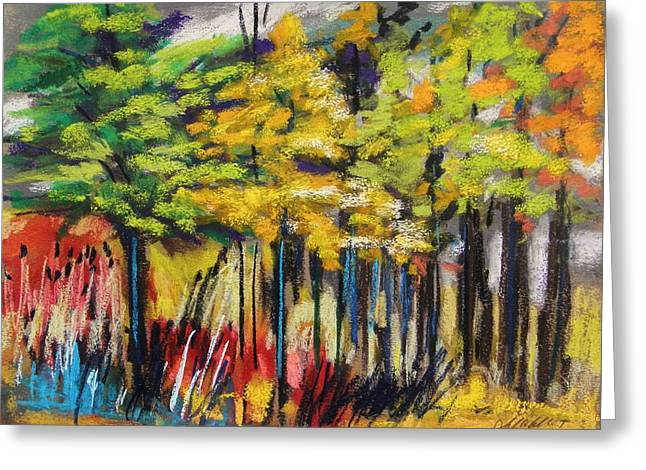 Black;vivid;vibrant;red Pastels Greeting Cards - Rain in the Trees Greeting Card by John  Williams