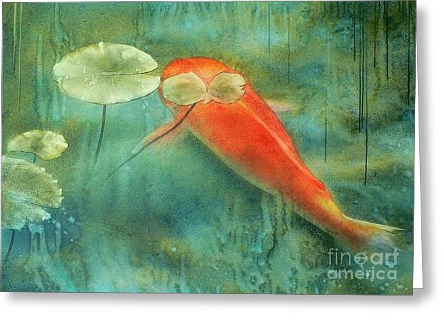 Koi Paintings Greeting Cards - Rain Koi Greeting Card by Robert Hooper