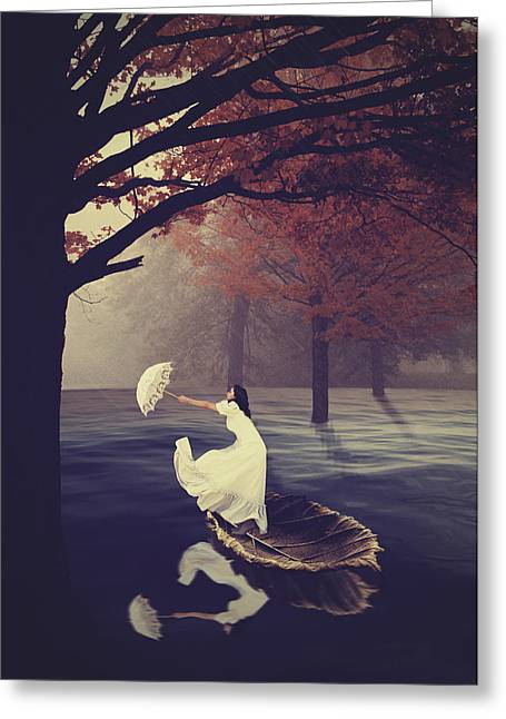 Woman In A Dress Greeting Cards - Rain on a leaf  Greeting Card by Mihaela Pater