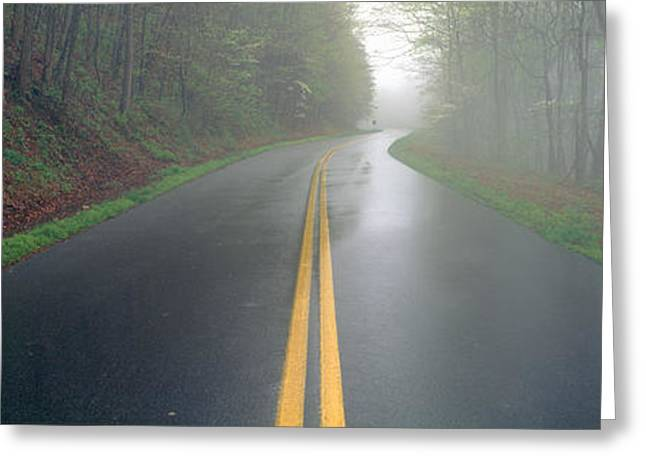 Nature Center Greeting Cards - Rain On Foothill Parkway, Great Smokey Greeting Card by Panoramic Images
