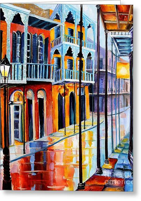 French Quarter Paintings Greeting Cards - Rain on Royal Street Greeting Card by Diane Millsap