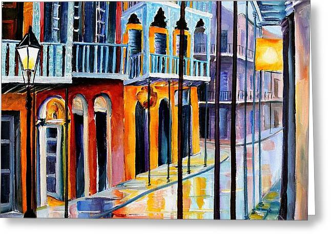 Rain on Royal Street Greeting Card by Diane Millsap