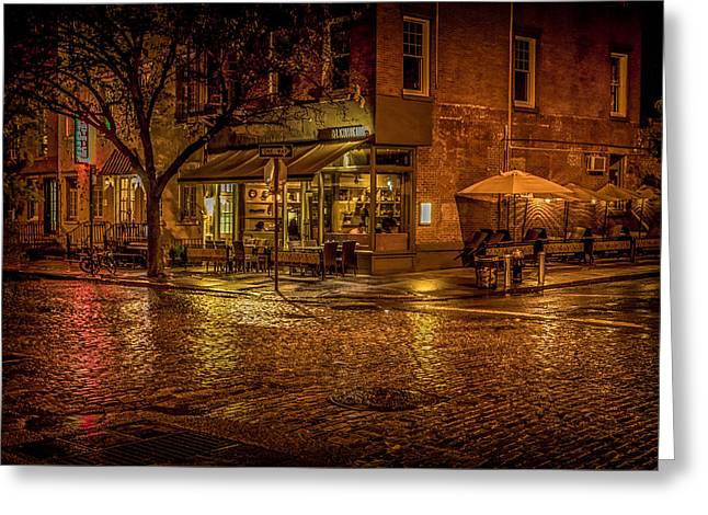 Raining Greeting Cards - Rain On The Cobblestones Of Greenwich Village Greeting Card by Chris Lord