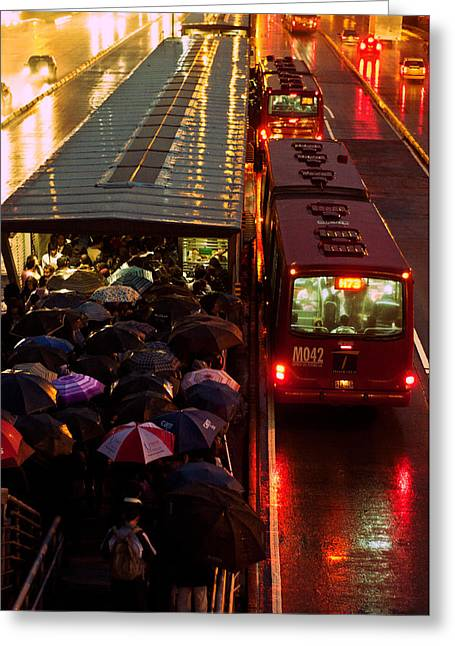 Rain Rush Hour Greeting Card by Jess Kraft