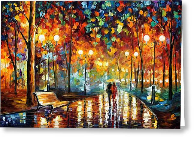 Original Art Greeting Cards - Rain Rustle Greeting Card by Leonid Afremov