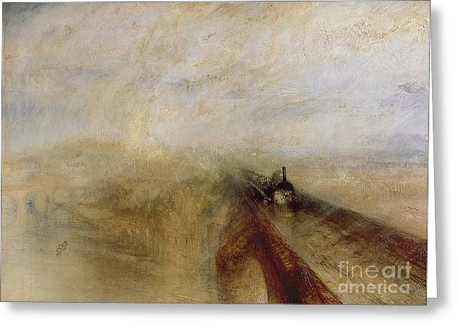Before Greeting Cards - Rain Steam and Speed Greeting Card by Joseph Mallord William Turner