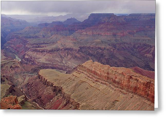 Rain Storm Over Grand Canyon Greeting Card by Dean Pennala